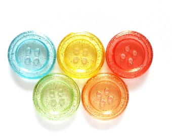 20 pcs Transparent Clear Glitter Big buttons 4 holes size 34 mm Red Yellow Blue Green Orange