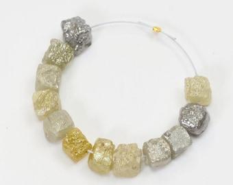 100% Natural Uncut Rough Colored Fine Diamond Cube Beads (12)