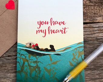 love card / anniversary card / my heart / sea otter