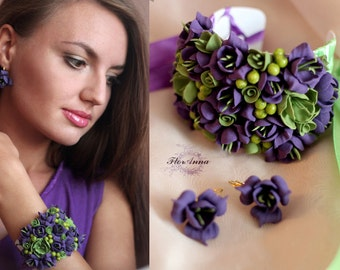 jewellery set, flower set, wedding stuff, bride bracelet, flowers earrings, purple bracelet, olivejewellery, ivory bracelet, purple earrings