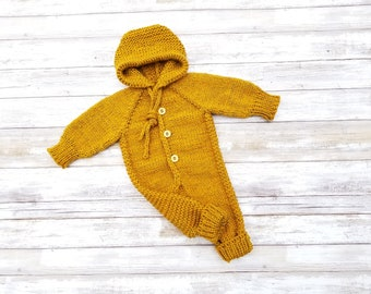 Hand Knit Baby Overalls. Hooded Baby Overalls.  Unisex Baby Overalls.