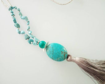 Turquoise and silver aulite necklace with silk tassel