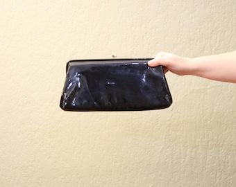 80s Era Vintage Patent Leather Clutch Purse