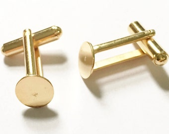 22ct Gold Plated 9mm Angled Flat Pad Cufflink Blanks 10PC 50PC