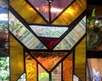 Art Deco Dreamcatcher Stained Glass Suncatcher (warm tones #2)