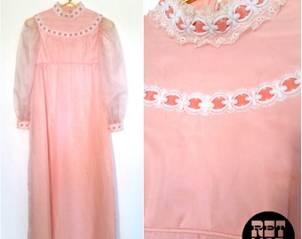Vintage 60s Pink Dolly Maxi with Pink Velvet Ribbon Trim - Super Lolita Fancy Prom!