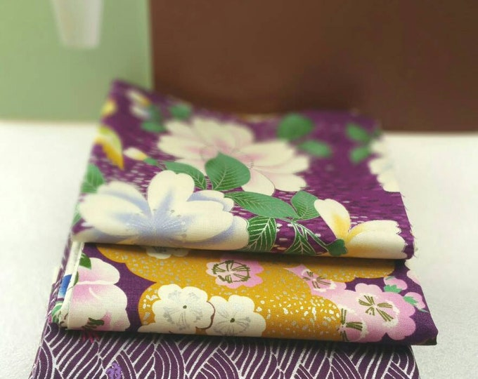 Quilt Gate Floral and Bird quilting kimono cotton - Hyakka Ryoran Tori silver metallic fabric bundle, half yard set of 4 in purple