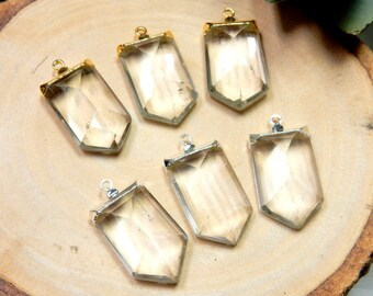 Crystal Quartz Faceted Point Pendant with Electroplated 24k Gold or Silver Cap and single bail (S5B8)