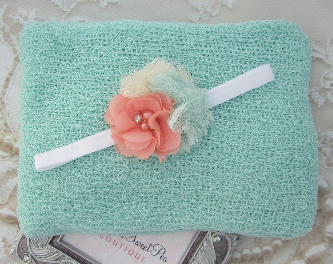 Mint Knit Wrap AND/OR Matching Cluster of Chiffon and Lace Flowers Headband, photo shoots, newborn swaddle, bebe foto, Lil Miss Sweet Pea