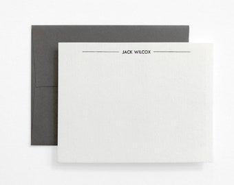 BOLT Modern Letterpress Stationery - Personalized Flat Note Set - Mid Century - Utility
