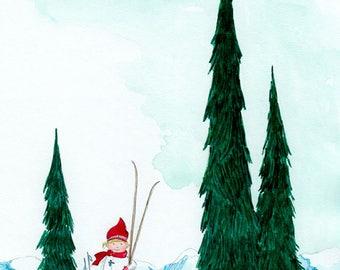 Little Skier - Giclée Watercolor Print for Children's Bedroom Decor