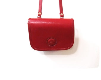 Vintage 80s Red Leather Preppy Chic Itty Bitty Shoulder Purse