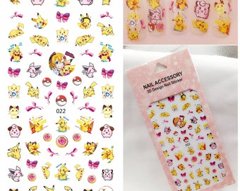 Pocket monsters Pikachu nail decal sticker sheet x 1