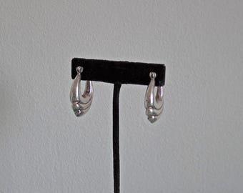 Vintage Sterling Silver Swirl Hoop Earrings, Silver Hoops