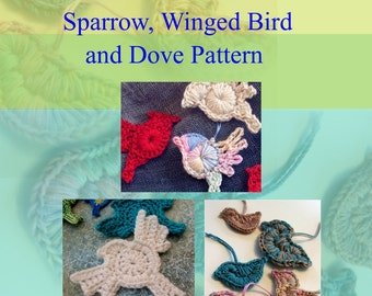 Animal Crochet PATTERN - Crocheted Bird Ornaments or Appliques, set of three designs Instant Download