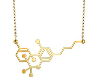 Small THC Molecule Necklace - Gold