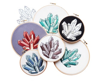 Out of Retirement! - March 2016 Minerals Embroidery Pattern PDF by Sarah K. Benning - #skbdiy