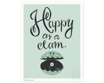 Happy as a Clam Illustrated Art Print