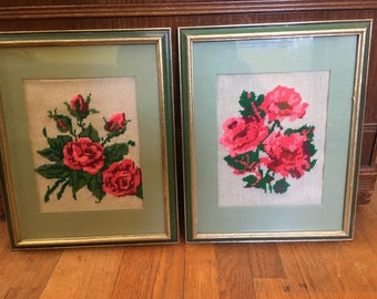 Pair of Vintage Framed Roses Needlepoint Pictures