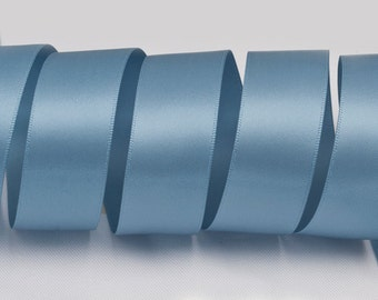 "Antique Blue Ribbon, Double Faced Satin Ribbon, Widths Available: 1 1/2"", 1"", 6/8"", 5/8"", 3/8"", 1/4"", 1/8"""