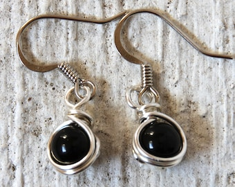 Onyx Earrings, Black Dangle Earrings, Small Dangle Earrings, Casual Earrings, Dangle Earrings, Casual Jewelry, Black Onyx Earrings