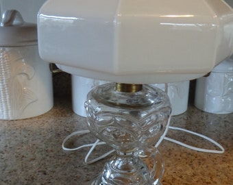 Peanut Stand Finger Loop Oil Lamp with Octagon Old Aladdin Milk Glass Shade