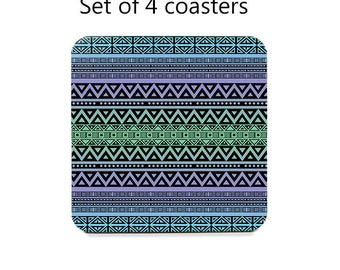 Tribal coaster set, drink coasters, set of 4, blue, purple, green table coasters, cork back coasters, table decor, hostess gift