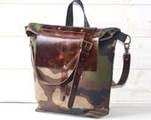 Canvas Messenger bag ,Camouflage Daybag ,crossbody bag, bike bag,travel bag with leather bottom and leather strap