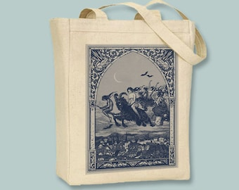 Witches Flying to Sabbat Vintage Illustration Natural or Black Tote -  Selection of sizes available, Image in ANY COLOR