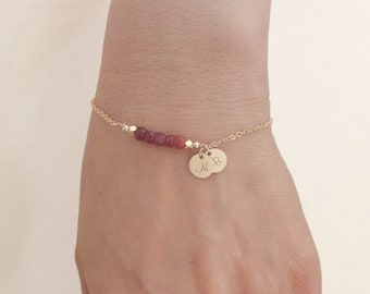 Ruby Bracelet. Initials Disc Gold Bracelet. July Birthstone. Ruby Bead Bracelet. Mom,Sister,Wife,Bridesmaid Gift.