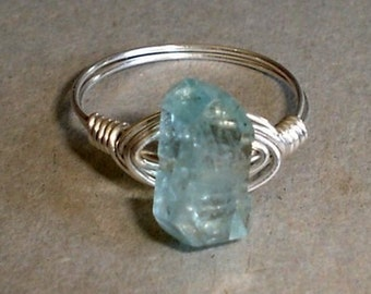 Aquamarine  Ring Sterling Silver Wire Wrapped Natural Faceted Aquamarine ring