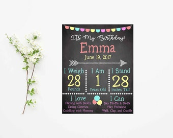Birthday Poster Board- Birthday Party Decorations- Birthday Chalkboard Sign- First Birthday Sign- Milestone Birthday- First Birthday Boy