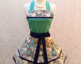 Retro Chic Women's Apron in Gray and White Floral with Teal and Navy Accents Flirty Women's Housewife Apron - Ready to Ship