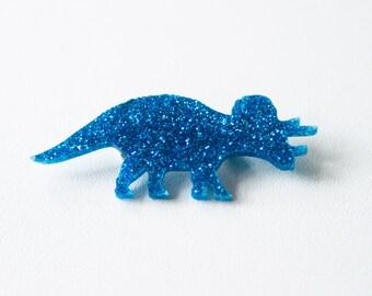 Glitter Triceratops Dinosaur Brooch. Sparkly Dinosaur Pin. Shiny Dinosaur Badge. Laser Cut Glitter Acrylic. Animal Brooch. Confetti Brooch
