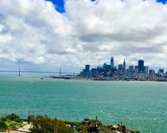 Handmade color photograph taken from Alcatraz Island of San Francisco