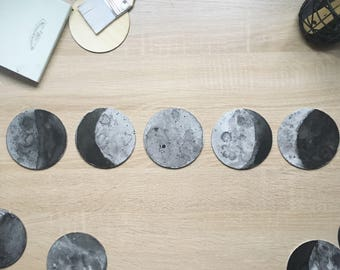Moon Phases watercolour paintings - 10cm flat canvases