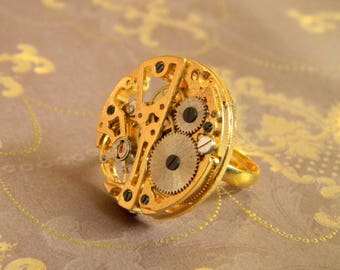 Original Design Steampunk Watch Movement Ring. Clockwork Style Ring. Gold Tone Alloy Ring Finding with Non-Moving Mechanical Watchworks.