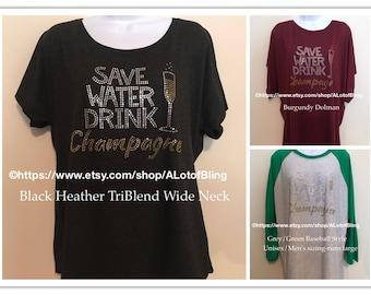 Save Water Drink Champagne Rhinestone T-Shirt