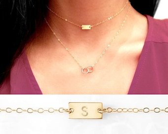 Initial Choker Necklace, Monogram Choker, Dainty Choker, Minimal Choker, 14k Gold filled, Rose Gold or Sterling Silver