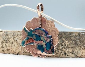 Unicorn pendant - copper pendant - mandala pendant - moroccon pendant - leather pendant - magnetic necklace - statement penant - unicorn
