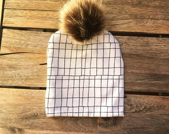 Geometric black and white beanie with Pom pom