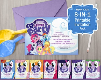 My Little Pony Printable Invitations - Pony Theme Party, My Little Pony Invites, Edit & Print as many copies as you like
