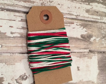 10 Yards of Holiday Variegated Baker's Twine, Red, Green and White Baker's Twine