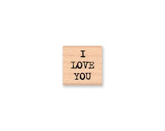 I LOVE YOU~Rubber Stamp~Small Love Stamp~Wedding~Valentine~Anniversary Words Saying Sentiment~Wood Mounted (18-19)