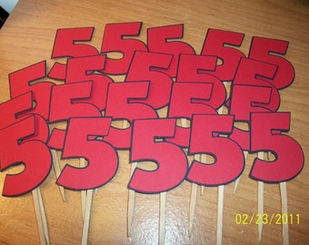 Number 5 cupcake toppers- set of 12