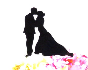 MADE In USA, Silhouette Wedding Cake Topper,  Bride and Groom Wedding Cake Topper, Cake Topper for Wedding Reception, Gift for Bridal Shower
