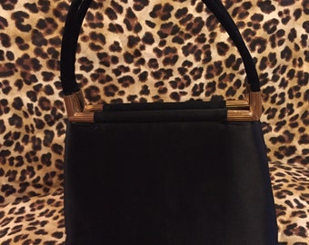 Chic vintage black and gold small Meyer's evening handbag