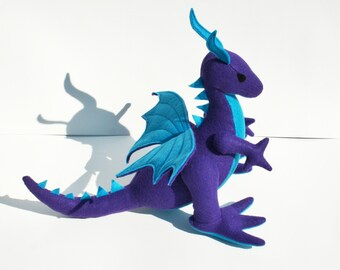 Night Flight Dragon Fantasy Plush ~ Handcrafted Eco Friendly Stuffed Animal Toy, Kids, Plushies, Purple Blue, Dragon Plushie, Stuffed Dragon