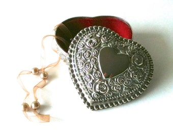 Vintage Ornate Silver Plated Heart Shaped Jewelry Box Trinket Box Rose Design