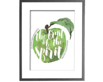 The Fruit of the Spirit, Green Apple, Wall Art, Bible Verse Art, Printable, Galatians 5:22-23, Kitchen Art, Dining Room, INSTANT DOWNLOAD